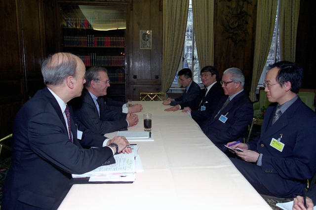 The Honorable Donald H. Rumsfeld (left, center), U.S. Secretary of Defense (SECDEF), meets with Dr. Sergio Mattarella (right, center), Italian Minister of Defense, at the 37th Munich Conference on Security Policy in Munich, Germany, Feb. 3, 2001.  OSD Package 010203-D-2987S-001-030 (PHOTO by Helene C. Stikkel) (Released)