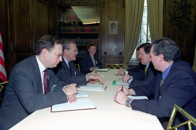 The Honorable Donald H. Rumsfeld (left, center), U.S. Secretary of Defense (SECDEF), meets with Lord George Robertson (right, center), Secretary General, North Atlantic Treaty Organization (NATO), at the 37th Munich Conference on Security Policy in Munich, Germany, Feb. 3, 2001.  OSD Package 010203-D-2987S-001-030 (PHOTO by Helene C. Stikkel) (Released)