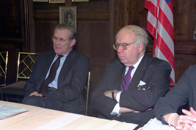 The Honorable Donald H. Rumsfeld (left), U.S. Secretary of Defense (SECDEF), and Mr. William Schneider Jr., Assistant to the SECDEF, attend the 37th Munich Conference on Security Policy in Munich, Germany, Feb. 3, 2001.  OSD Package 010203-D-2987S-001-030 (PHOTO by Helene C. Stikkel) (Released)