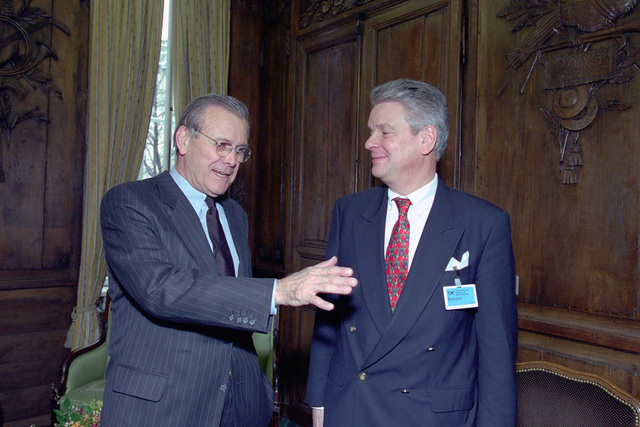 The Honorable Donald H. Rumsfeld (left), U.S. Secretary of Defense (SECDEF), meets with Alain Richard, French Minister of Defense, at the 37th Munich Conference on Security Policy in Munich, Germany, Feb. 3, 2001.  OSD Package 010203-D-2987S-001-030 (PHOTO by Helene C. Stikkel) (Released)