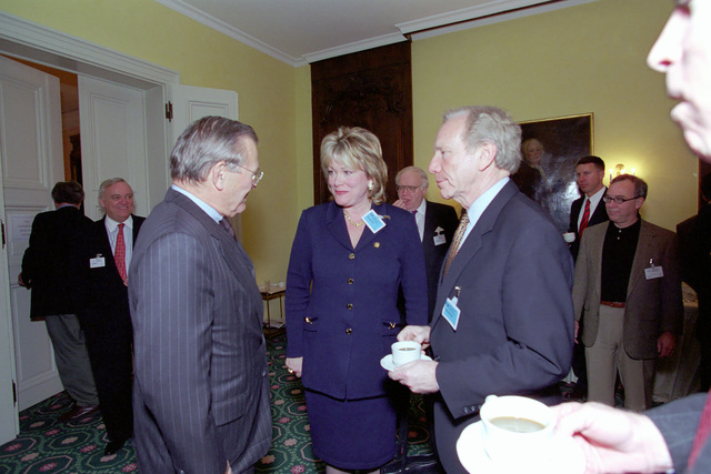 The Honorable Donald H. Rumsfeld (left), U.S. Secretary of Defense (SECDEF), speaks with Senator Joseph U. Lieberman, (D) Connecticut, and Congresswoman Ellen O. Tauscher, (D) California, at the 37th Munich Conference on Security Policy in Munich, Germany, Feb. 3, 2001.  OSD Package 010203-D-2987S-001-030 (PHOTO by Helene C. Stikkel) (Released)