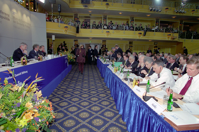 The Honorable Donald H. Rumsfeld (rear, left), U.S. Secretary of Defense (SECDEF), addresses at the 37th Munich Conference on Security Policy in Munich, Germany, Feb. 3, 2001.  OSD Package 010203-D-2987S-001-030 (PHOTO by Helene C. Stikkel) (Released)