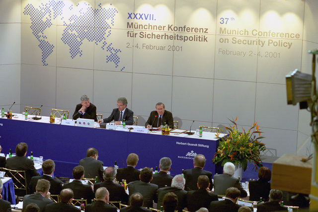 The Honorable Donald H. Rumsfeld (rear, right), U.S. Secretary of Defense (SECDEF), addresses at the 37th Munich Conference on Security Policy in Munich, Germany, Feb. 3, 2001.  OSD Package 010203-D-2987S-001-030 (PHOTO by Helene C. Stikkel) (Released)