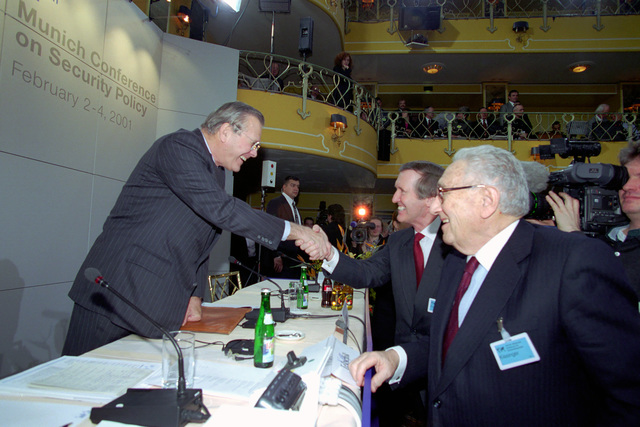 The Honorable Donald H. Rumsfeld (right), U.S. Secretary of Defense (SECDEF), is greeted by the Honorable William S. Cohen, former U.S. Secretary of Defense, at the 37th Munich Conference on Security Policy in Munich, Germany, Feb. 3, 2001.  OSD Package 010203-D-2987S-001-030 (PHOTO by Helene C. Stikkel) (Released)