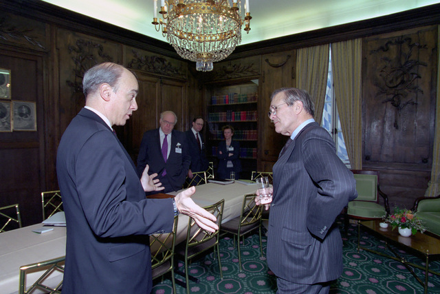 The Honorable Donald H. Rumsfeld (right), U.S. Secretary of Defense (SECDEF), meets with Franklin D. Kramer, Assistant SECDEF (International Security Affairs), at the 37th Munich Conference on Security Policy in Munich, Germany, Feb. 3, 2001.  OSD Package 010203-D-2987S-001-030 (PHOTO by Helene C. Stikkel) (Released)