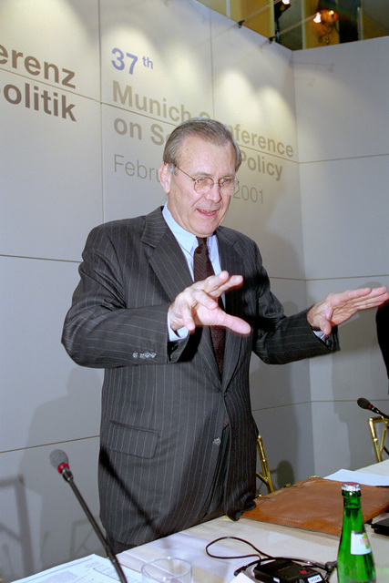 The Honorable Donald H. Rumsfeld (right), U.S. Secretary of Defense (SECDEF), prepares to give his address at the 37th Munich Conference on Security Policy in Munich, Germany, Feb. 3, 2001.  OSD Package 010203-D-2987S-001-030 (PHOTO by Helene C. Stikkel) (Released)