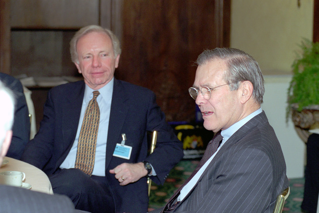 The Honorable Donald H. Rumsfeld (right), U.S. Secretary of Defense (SECDEF), speaks with Senator Joseph U. Lieberman, (D) Connecticut, and other members of a U.S. Congressional delegation at the 37th Munich Conference on Security Policy in Munich, Germany, Feb. 3, 2001.  OSD Package 010203-D-2987S-001-030 (PHOTO by Helene C. Stikkel) (Released)
