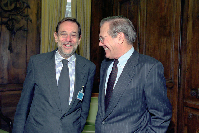 The Honorable Donald H. Rumsfeld (right), U.S. Secretary of Defense (SECDEF), speaks with Dr. Javier Solana, Secretary General of the Council of the European Union/High Representative for the Common Foreign and Security Policy, at the 37th Munich Conference on Security Policy in Munich, Germany, Feb. 3, 2001. OSD Package 010203-D-2987S-001-030 (PHOTO by Helene C. Stikkel) (Released)