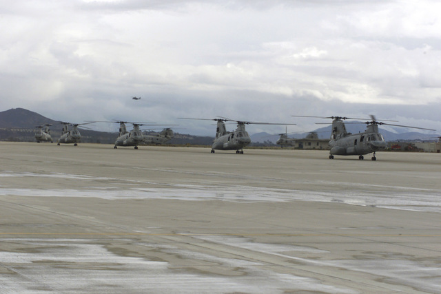 A convoy of 16, CH46-Helicopters arrives at MCAS Miramar bringing home the Marines of HMM-161 after ther six-month deployment as part of the 13th MEU (Marine Expeditionary Unit)