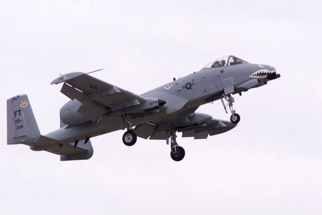 An A-10A Warthog aircraft from the 23rd Wing, Pope Air Force Base, North Carolina, in-flight during a flight demonstration at Shaw Air Force Base, South Carolina, during the Operation DESERT STORM 10th Anniversary Air Tattoo