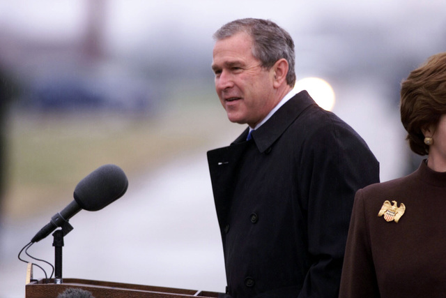 Shot of President George W. Bush as he thanks the airman of Langley Air Force Base, Virginia, for their service to their country. President and Mrs. Laura Bush landed at Langley on their way to the christening ceremony of the USS RONALD REAGAN (CVN 76) (not shown) at Newport News Shipbuilding, Virginia