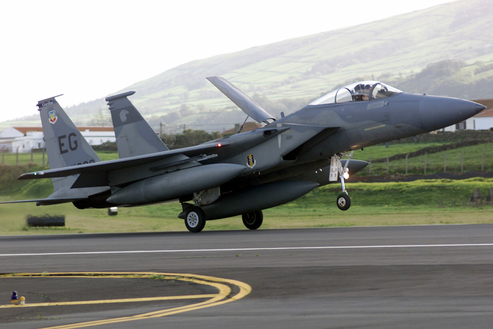 An F-15 Eagle from the 58th Fighter Squadron, Elgin Air Force Base, Florida, arrives at Lajes Field, Azores, Portugal. The F-15 and pilot are part of a group enroute to the US after supporting CORONET EAST Operations in Kuwait