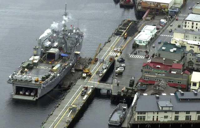 The USS OGDEN (LPD 5), a 570 foot Navy amphibious transport dock ship from San Diego, California, is parked at the pier in Ketchikan, Alaska, in support of Exercise NORTHERN EDGE 2001, Alaska's premier joint training exercise. The two week long exercise is a combined effort with military forces from all over North America