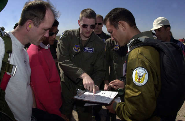 US Air Force First Lieutenant Ed Markie (center) a flight navigator, tries to explain some things to Moroccan Army Soldier about the High Altitude Low Open (HALO) drop, and the drop zone on Ben Guerir Air Field, Morocco, during Operation BLUE SANDS 2001