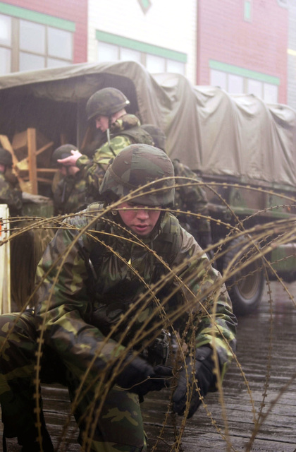 In swirling winds, fog and pounding rains, Private First Class Thad Mills of the 297th Army Infantry Alaskan National Guard, Alpha Company, sets up concertina wire in order to provide dock security support for the USS OGDEN (LPD 5) while deployed to Ketchikan, Alaska, during Exercise NORTHERN EDGE 2001. Northern Edge is Alaska's premier joint training exercise and it lasts for two weeks. Over 10,000 Canadian and United States forces combine to practice protecting Alaska and it's borders