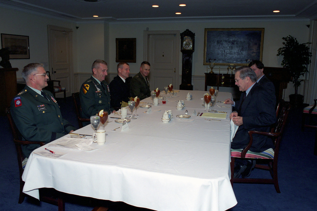 The Honorable Donald H. Rumsfeld (foreground, right), U.S. Secretary of Defense, hosts a meeting with, from the left, U.S. Army GEN. Thomas A. Schwartz, Commander in CHIEF (CINC), United Nations Command, Combined Forces Command (CFC), United States Forces Korea (USFK), GEN. Tommy R. Franks, Commander in CHIEF, U.S. Central Command (CINCENT), U.S. Navy Adm. Dennis C. Blair, Commander in CHIEF, Pacific Command, and U.S. Marine Corps GEN. Peter Pace, Commander in CHIEF, Allied Forces Southern Europe, meet at the at the Pentagon, Washington, D.C., Mar. 27, 2001.  (DoD photo by Helene C. Stikkel) (Released)