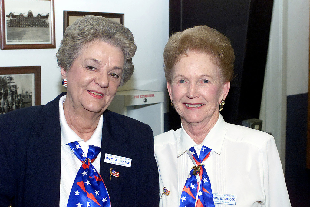 Mary J. Gentle and Vivian Weinstock (right) members of the March Museum Ladies Auxiliary host a movie on Women in Aviation at the March Museum at March ARB, CA
