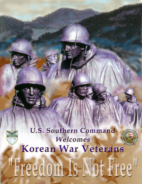 Poster art created for a ceremony held at Headquarters US Southern Command (USSOUTHCOM) to recognize veterans that served in the Korean War. Created by Marilyn L. Woodward, CIV, USA