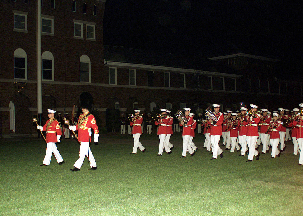 The Presidents Own, the United States Marine Corps Band, performs at the first evening parade of the season at Marine Barracks 8th and I, Washington, DC