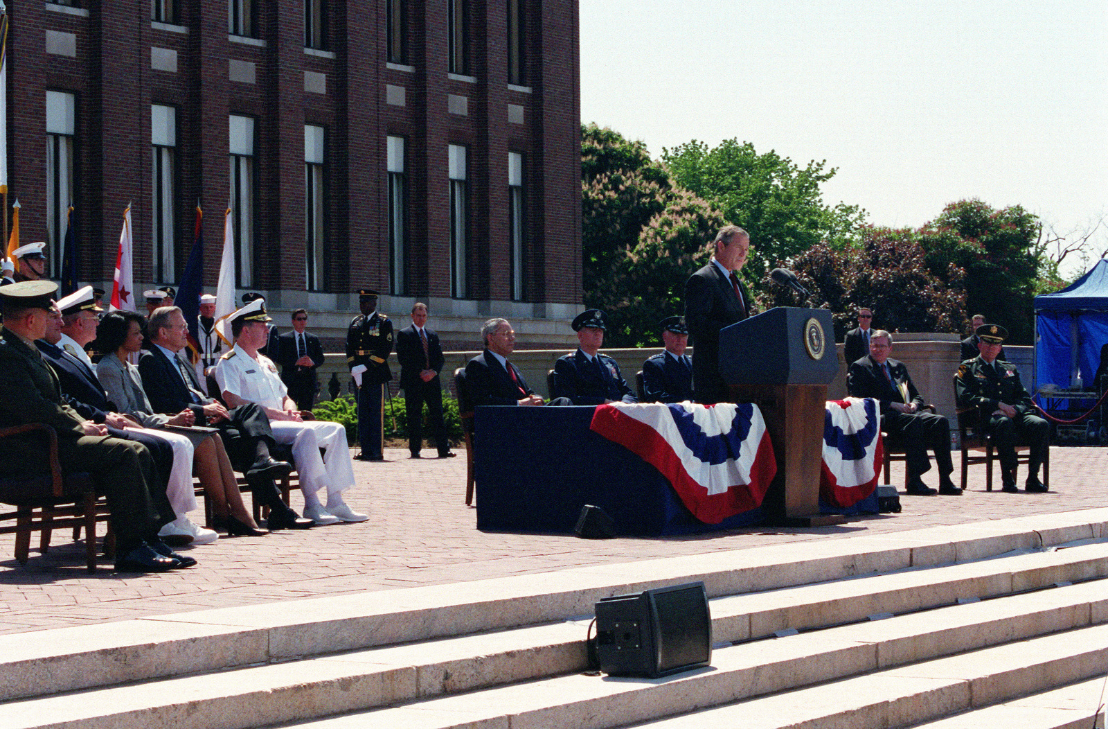 At the entrance to the National War College, National Defense University on Fort McNair, President George W. Bush presents his anti-Ballistic Missile Defense policy speech, to the assembled students and faculty