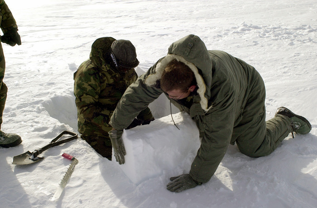 "Students of the Arctic Aircraft Recovery School (a.k.a. ""Kool School"") sponsored by the 109th Airlift Wing (AW), are instructed on how to build snow block retaining walls. The walls are for shelter purposes while on the ice. The school is located on the Ice cap of Greenland just three miles from the abandoned DYE II site, it was part of the DEW (Distant Early Warning) Line"