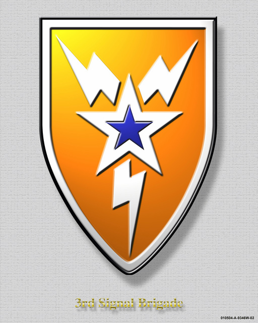 "3rd Signal Brigade Crest created on a textured grey background with the crest having a beveled edge and drop shadow. The title at the bottom ""3rd Signal Brigade"" has a beveled edge and drop shadow"