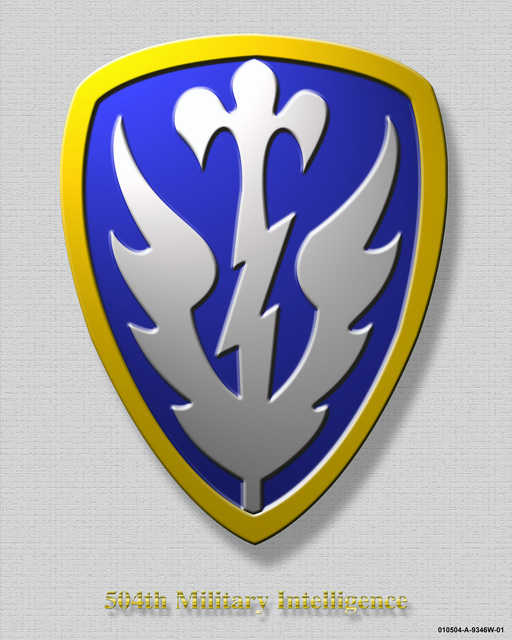 "504th Military Intelligence Brigade Crest created on a textured grey background with the crest having a beveled edge and drop shadow. The title at the bottom ""504th Military Intelligence"" has a beveled edge and drop shadow"