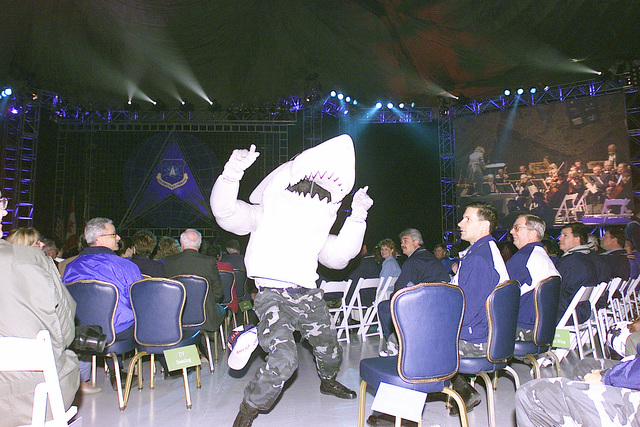"""Patrick Air Force Base, 45th Space Wings mascot """"Snark"""" rallies his team during the early morning opening ceremonies for the Air Force Space Command, space and missile competition at GUARDIAN CHALLENGE 2001. """"Snark"""" is nicknamed after the SNARK missiles launched from Cape Canaveral. GUARDIAN CHALLENGE, the world's premier space and missile competition, is a four-day event hosted annually at Vandenberg AFB, CA """"to recognize the best and demonstrate the commands warfighting skills. GUARDIAN CHALLENGE creates competition-tough crews; improves readiness and combat capabilities through preparation, innovation and sharing; enhances esprit de corps and strengthens teamwork across all mission..."""