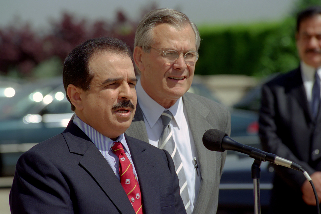 His Royal Highness Hamad bin Isa al-Khalifa (at microphone), Emir of the Kingdom of Bahrain, says a few words after meeting with the Honorable Donald H. Rumsfeld (right)), U.S. Secretary of Defense (SECDEF), at the Pentagon, Room 3E912, Washington, D.C., May 8, 2001.  OSD Package No. 010508-D-9880W-001 π 061 (PHOTO by Robert D. Ward) (Released)