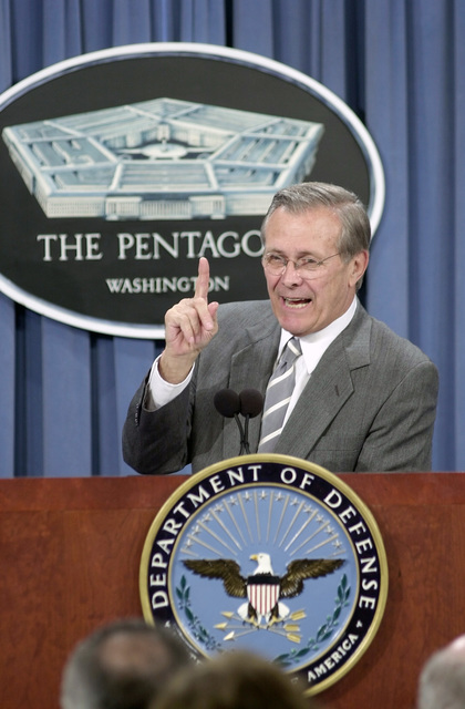 U.S. Secretary of Defense The Honorable Donald H. Rumsfeld, answers reporter's questions in the Pentagon press room, after announcing changes to the United States National Security Space Management and Organization, May 8, 2001.The commission recommended designating the Department of the Air Force as Executive Agent for Space within the Department of Defense giving basic jurisdiction for space related projects to the U.S. Air Force. (DoD photo by TECH. SGT. Jim Varhegy) (Released)