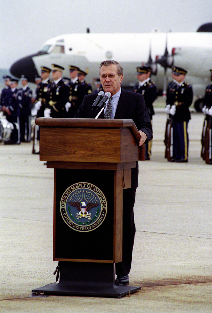 The Honorable Donald H. Rumsfeld, U.S. Secretary of Defense, makes remarks during the opening ceremony of the Joint Services Open House at Andrews Air Force Base, MD, on May 18, 2001.(DoD photo by Helene C. Stikkel) (Released)