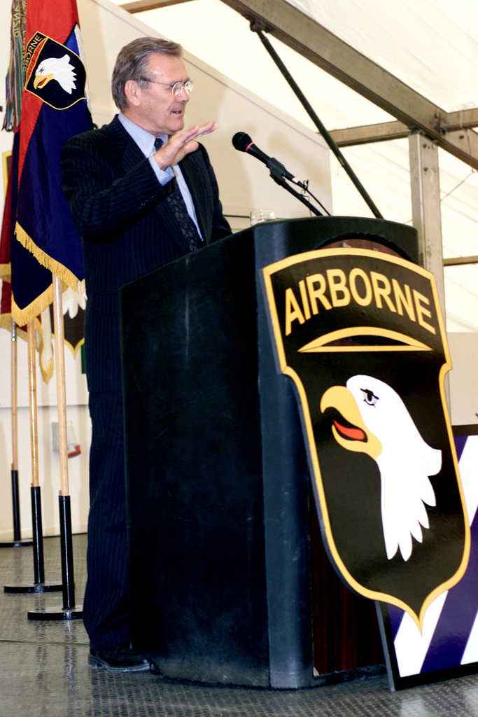 The Honorable Donald H. Rumsfeld, U.S. Secretary of Defense speaks to U.S. Army Soldiers in the Camp Bondsteel main theater during his offical visit to Camp Bondsteel, Kosovo, Serbia, on June 5, 2001. (U.S. Army PHOTO by STAFF SGT. Bronco A. Suzuki) (Released)