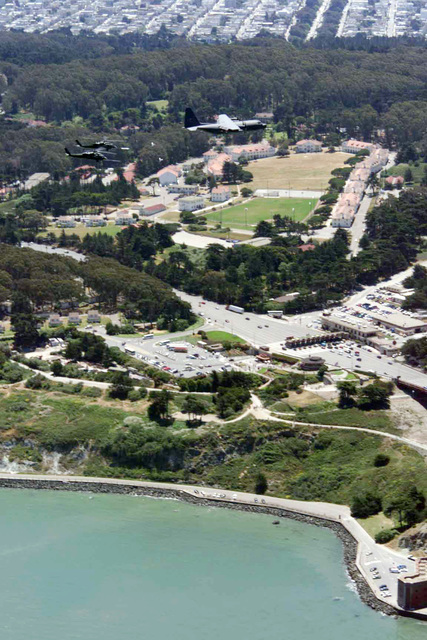 A MC-130 Combat Shadow tanker and two HH-60G Pavehawk helicopters from the 129th Rescue Wing fly in formation over the Presidio of San Francisco, California. The mission of the 129th is to train and be prepared to perform its wartime mission of combat search and rescue anywhere in the world. Its personnel and aircraft locate and recover aircrew and non-aircrew personnel from both enemy-held and friendly territory and seas. In addition, the 129th provides manpower, materiel and equipment to conduct peacetime search and rescue operations in the Pacific Ocean and off the coast of California, and is one of only three Rescue Wings in the Air National Guard. The 129th has saved 292 lives since ...