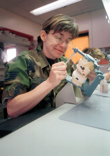 STAFF Sergeant Patricia Brown works on a orthodontic mouth piece in the dental laboratory. Brown is a dental laboratory craftsman with the 48th Dental Squadron, assigned to the 48th Medical Group, RAF Lakenheath, United Kingdom