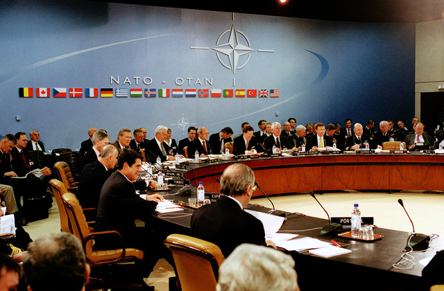 The Honorable Donald H. Rumsfeld (under the North Atlantic NATO sign), U.S. Secretary of Defense, attends his first North Atlantic Council Defense Ministerial at NATO Headquarters in Brussels, Belgium, on Jun. 7, 2001.(DoD photo by Robert D. Ward) (Released)