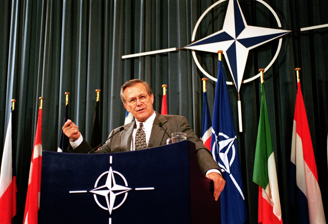 The Honorable Donald H. Rumsfeld, U.S. Secretary of Defense, speaks at the Luns Theater, NATO Headquarters in Brussels, Belgium, on Jun. 7, 2001. (DoD photo by Robert D. Ward) (Released)