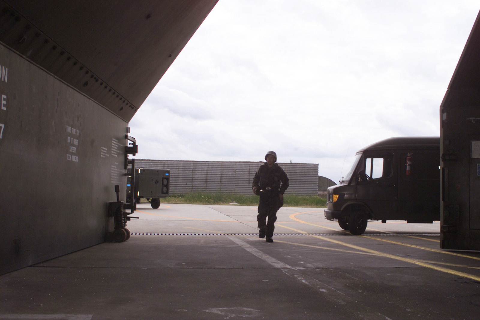 US Air Force AIRMAN First Class Ed Wells, 23rd Fighter Squadron, runs for cover at Spangdahlem Air Base, Germany, during a Phase II Local Salty Nation exercise. Spangdahlem personnel participated in a Phase I at the beginning of the week followed up by a Phase II in preparation for a Phase I Operational Readiness Inspection and a NATO Tactical Evaluation