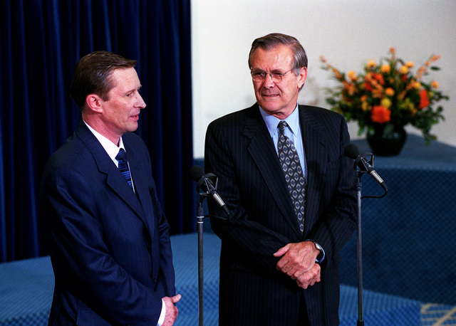 The Honorable Donald H. Rumsfeld (right), U.S. Secretary of Defense, and the Russian Defense Minister Sergey Borisovich Ivanov (left), participate in a press conference at NATO Headquarters, Brussels, Belgium, on Jun. 8, 2001.(DoD photo by Robert D. Ward) (Released)