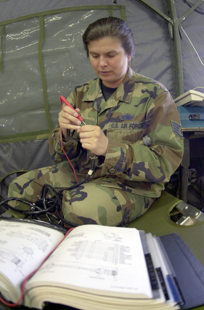 With a book as her guide, US Air Force STAFF Sergeant Michelle Hren, ground radio maintenance craftsman, 31st Communications Squadron, performs a continuity check on a remote cable used on a transciever at Malacky Air Base, Republic of Slovakia. The 555th Fighter Squadron deployed to Slovakia with 220 personnel from Aviano Air Base, Italy, tot ake part in weapons training