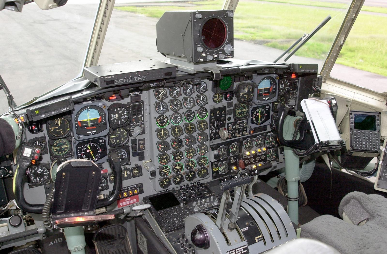 Interior cockpit view of a US Air Force C-130 Hercules