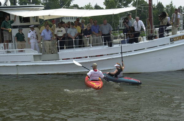 Secretary Gale Norton on hand for boating activities as part of Great Outdoors Week celebration in the Washington, D.C. area. Photograph was selected for use in preparation of Department of Interior video on Norton tenure