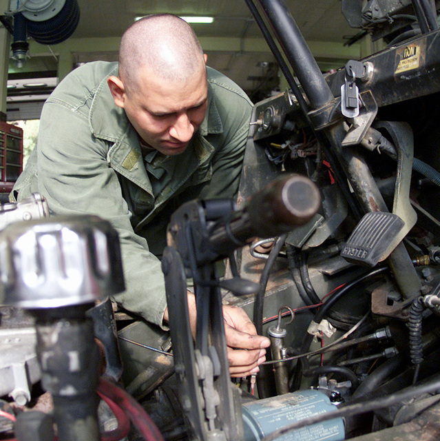 STAFF Sergeant Mack Alf, from the 31st Munitions Squadron Camp Darby, Italy, puts an engine into a 6K forklift on 14 June 2001. 31st Munitions Squadron is a 129-person, Geographically Separated Unit (GSU), assigned to the 31st Logistics Group, 31st Fighter Wing, Aviano AB, Italy. The 31st Munitions Squadron (31 MUNS) operates on US Army installation, Camp Darby, Italy, which is located approximately 280 miles southwest of Aviano AB. 31st MUNS are responsible for USAFE's largest and most dispersed conventional munitions stockpile, providing a unique capability to globally distribute munitions using air, sea, over-the-road and rail transportation