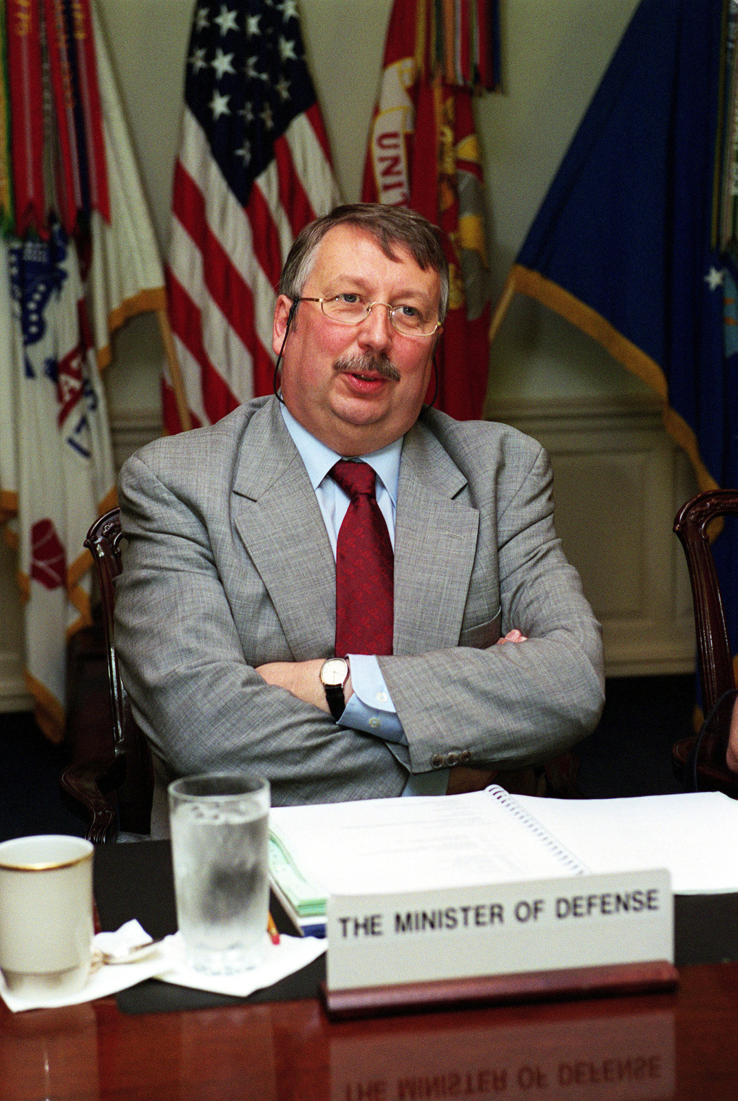 Andre Flahaut, Belgium Minister of Defense, attends a meeting at the Pentagon, Washington, D.C., on Jun. 18, 2001.(DoD PHOTO by Helene C. Stikkel) (Released)