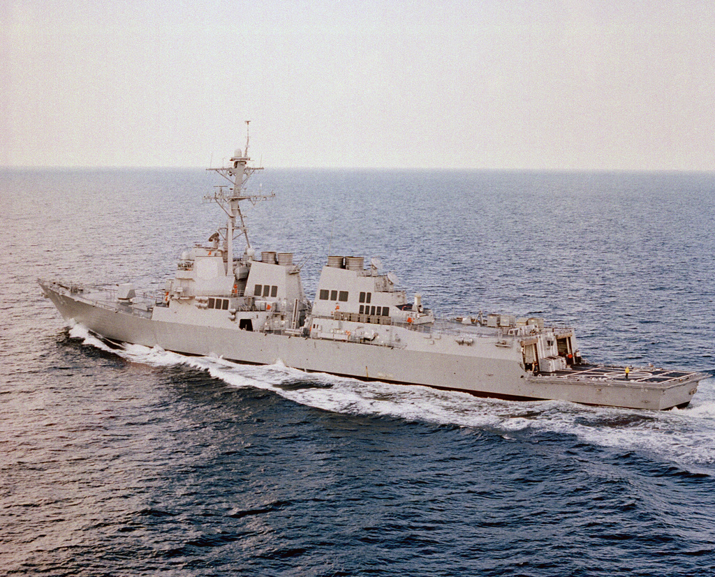 Low oblique port quarter (135 degrees off centerline) view of the Arleigh Burke Flight IIA class guided missile destroyer USS BULKELEY (DDG 84) underway on builders sea trials