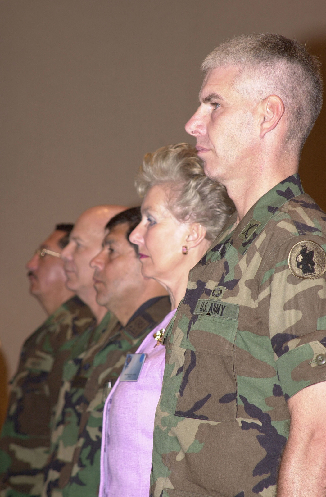 Members of the head table stand during the opening ceremony for United Forces Peacekeeping Operations South-01, left to right are Ecuadorian Army Colonel (COL) Cesar Ubillus, Exercise Co-Director; US Air National Guard Brigadier General (BGEN) Robert W. Sullivan, Director of Operations, Reserve Assistant - SCJ3V, US Southern Command Representative; Ecuador Army Major General (MGEN) Wilson Torres, Exercise Director; Dame Margaret Anstee, Special Representative of the Secretary General of the United Nations; and COL Jeffery T. Christiansen, US Army South Exercise Co-Director., Quito, Ecuador. The peacekeeping exercise is a series of multi-national interactive seminars
