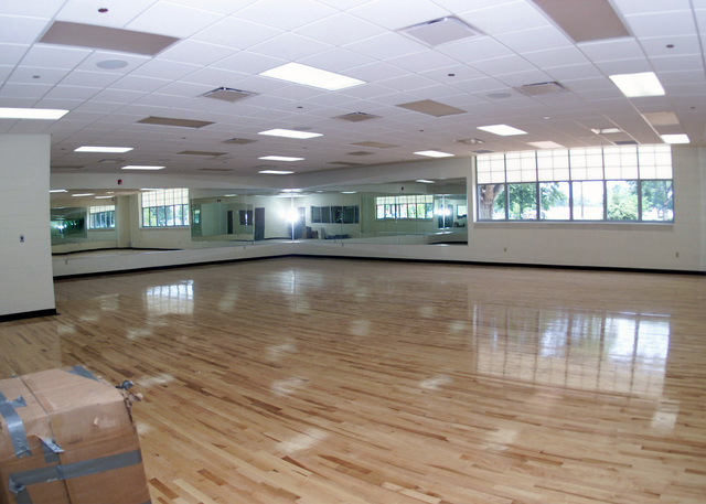 The aerobic room in the Barksdale Sports and Physical Fitness Center has a 'bouncing' floor to give ease on the knees for people using the room. The new facility is 48,000 square feet in area that offers four racquetball courts, an 1/8th of a mile indoor track, a cardio theater, a fully equipped free machine weight room, men's and women's locker room with one-day use lockers, private saunas, and a dedicated aerobic room along with other features. The new center will open it's doors to the base population June 26, 2001