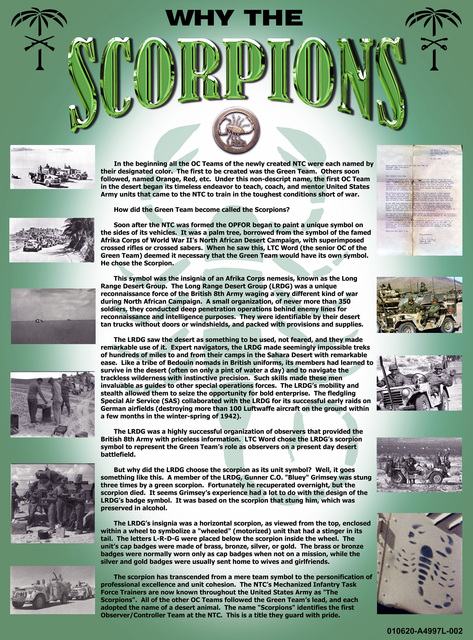"""A poster depicting the chronological history of the National Training Centers Mechanized Infantry Task Force Trainers at Fort Irwin, CA. """" SCORPIONS"""""""