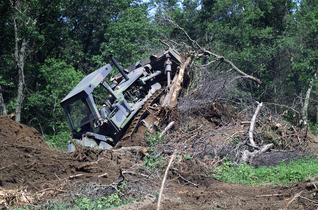 SPECIALIST (SPC) Timothy Quillan, USA, 863rd Engineers Battalion operates a D8K Caterpillar Heavy Tractor as he clears away trees an foliage while constructing a new road at the Multiple Purpose Training Range, at Fort McCoy, Wisconsin