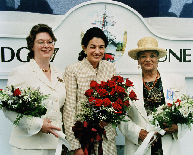During the christening ceremony for the USS MASON (DDG 87) the Ships sponsor, the Honorable Olympia J. Snowe, Senator, Maine and the Matron of Honors Kathleen Mason Bond, and Barbara B. Graham pose for a photograph