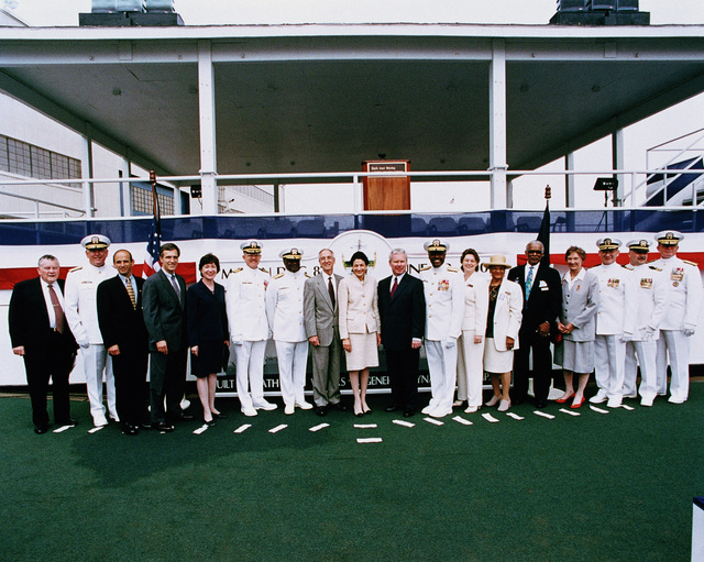 Official Christening and Launch USS MASON (DDG 87) Launch party: (L to R) Rear Admiral (RADM) W. E. Meyer, USN (Ret); RADM William W. Cobb Jr., NAVSEA PEO TSC; Honorable John E. Baldacci, Rep. Maine; Honorable Thomas H. Allen, Rep. Maine; Honorable Susan M. Collins, Senator-Maine; Captain R. Hepburn, USN; RADM James A. Johnson, CNO representative; The Honorable Gordon R. England, Secretary of eh Navy, Honorable Olympia J. Snowe, Senator, Maine, and ships sponsor; Mr. Allan C. Comeron, CEO General Dynamics Company; RADM David L. Brewer III, principal speaker, Matrons of Honor: Mrs. Kathleen Mason Bond and Mrs. Barbara B. Graham; Mr. James W. Graham; Mrs. C. Griffiths, Commander (CDR) David...